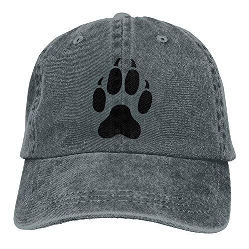 Soskeila Men Women Cat Paw Print Tattoos Adjustable Vintage Baseball Caps Washed Cowboy Dyed Denim Hat -