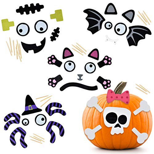 5 Pack Halloween Wooden Pumpkin Decorating Kit Make a Face on your Jack o Lantern Trick or Treat Witch Spider Bat Skull Cat and Frankenstein Kids Activity Craft Party Favor Supplies by Gift Boutique