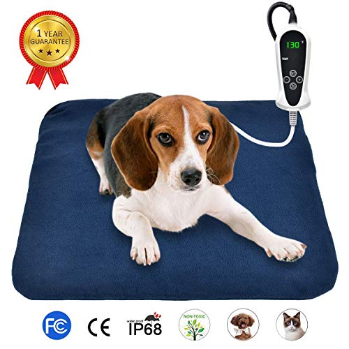 "RIOGOO Pet Heating Pad, Electric Heating Pad for Dogs and Cats Indoor Warming Mat with Auto Power Off 18"" x 18"" from RIOGOO"
