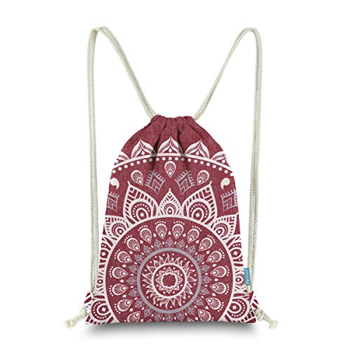 Knit Drawstring Bag - Miomao Drawstring Backpack Gym Sack Pack Mandala Style String Bag With Pocket Canvas Sinch Sack Sport Cinch Pack Christmas Gift Bags Beach Rucksack 13 X 18 Inches Burgundy