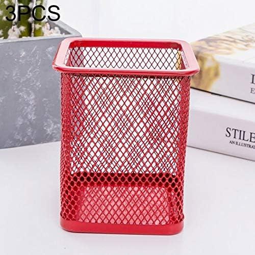3 PCS Stiftehalter Feder-Behälter-Ineinander greifen Metall Bleistifthalter Cup,ZhangJJun (Color : Square Red)