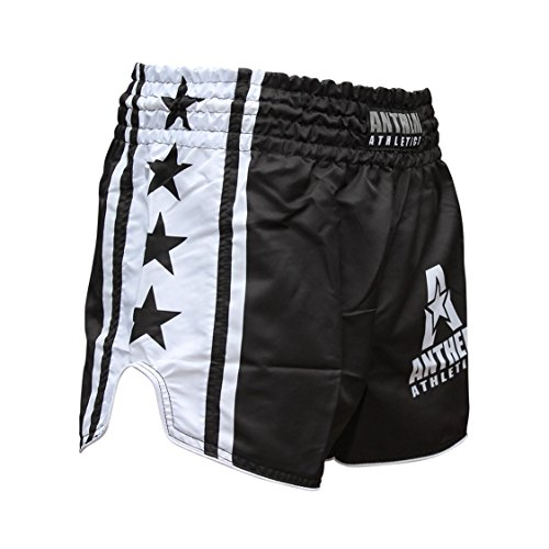 NEW! Anthem Athletics RECKONER Retro Style Muay Thai / Boxing / Kickboxing Shorts – Black & White – Large