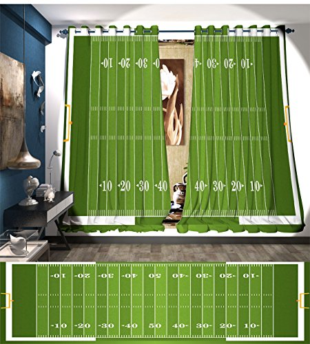 Littletonhome Football Window Curtain Fabric Sports Field in Green Gridiron Yard Competitive Games College Teamwork Superbowl Drapes For Living Room Green White