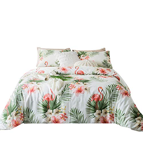 SUSYBAO 3 Piece Duvet Cover Set 100% Egyptian Cotton Sateen Queen Size Green Floral Leaves Bedding Set 1 Coral Flamingo Duvet Cover with Zipper Ties 2 Pillowcases Hotel Quality Silky Soft Breathable