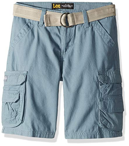 LEE Boys' Big Dungarees Belted Wyoming Cargo Short, Wave Blue, 12 Regular ()