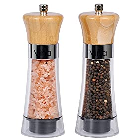 Vina Manual Salt Pepper Grinder Set of 2, Wood Top Pepper Mill and Salt Mill with Ceramic Adjustable Rotor, Chess Piece Design - Free Garlic Roller Included