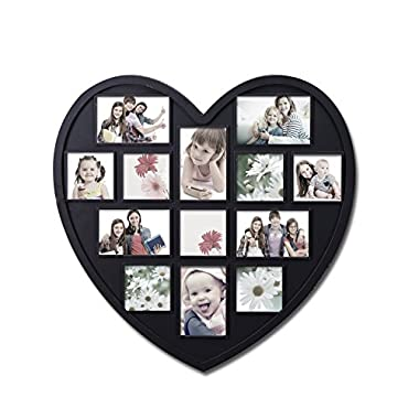 Adeco Decorative Black Wood Heart-Shaped Wall Hanging Picture Photo Frame, 4 x 6-Inch