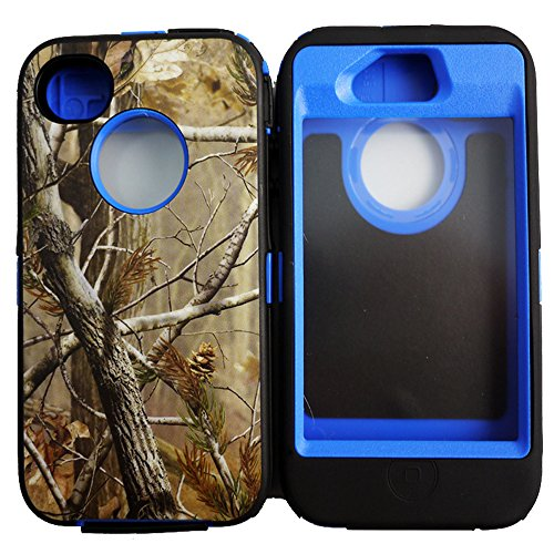 Kecko(TM) Heavy Duty Defender Tough Armor Shockproof Heavy Duty Tree Camo Impact Hybrid Case W/ Built In Screen Protector for iphone 4/4s--Camo Trees on the Core (Tree Dark Blue)