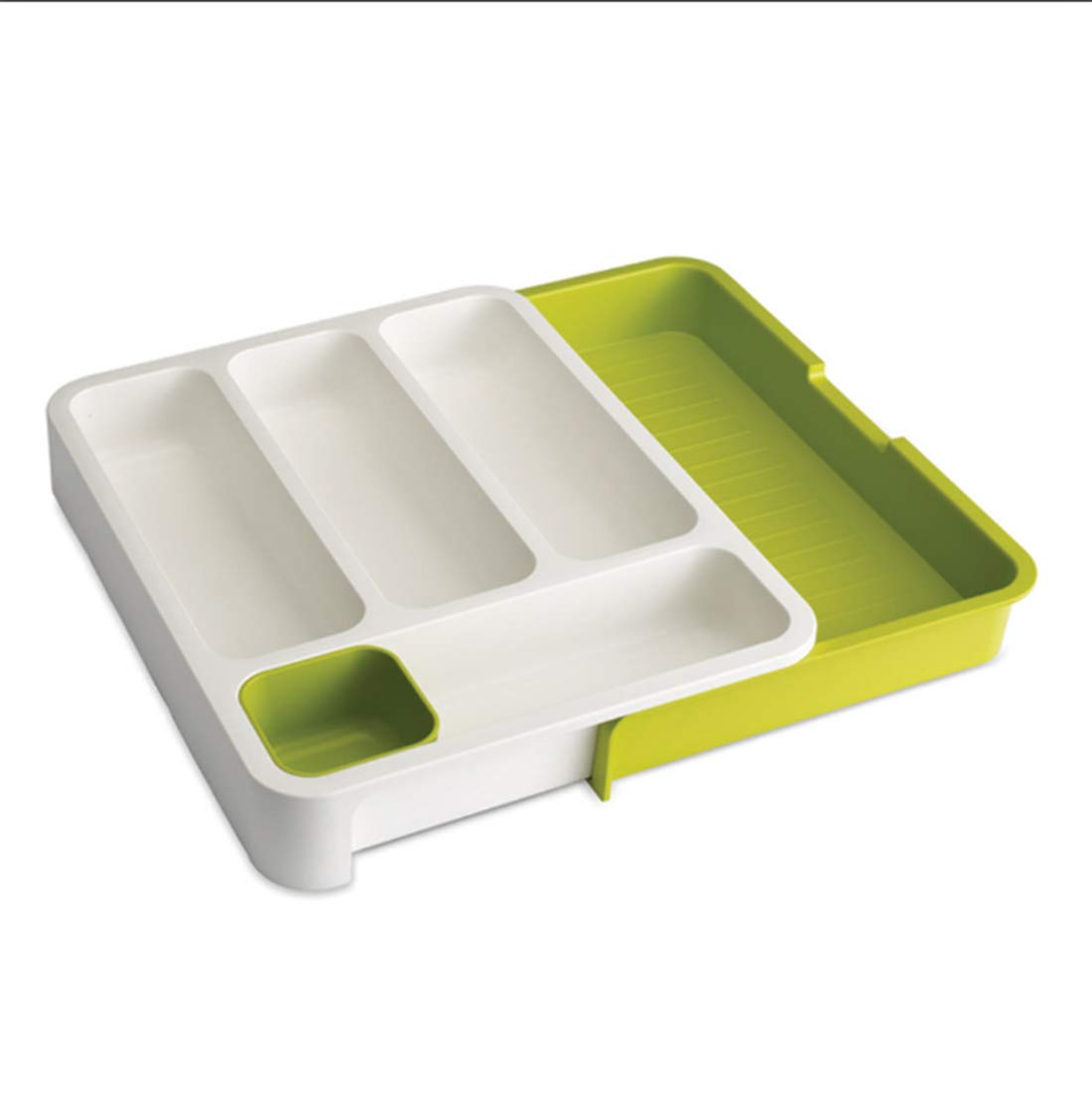 SHOW-WF Plastic Extendable Anti-Slip Cutlery Organiser Tray for Pull-Out Drawer Insert, Extends Up to 48 x 36.5 x 5.5cm White/Green