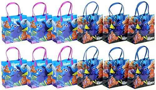 Disney Finding Dory Premium Quality Party Favor Reusable Goodie/Gift/Bags 12 Pieces ()