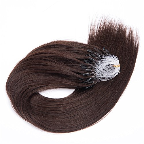 Micro Ring Loop Remy Human Hair Extensions 0.5g/Strand,100Strands,50G Silky Straight Virgin Hair Extension Micro Beads (20 inch, 4 Medium Brown)