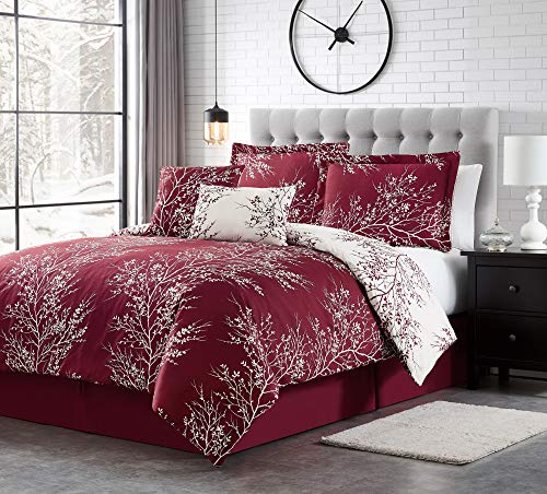 Spirit Linen Warm and Cozy Comforter Set Platinum Bedding Collection Baby Soft Texture Plush Bed Blanket (Burgundy, Queen)