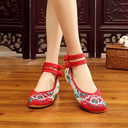 Femmes Compensés Bozevon Rouge Brodées Chaussures Mary Jane Pour xqtqO6