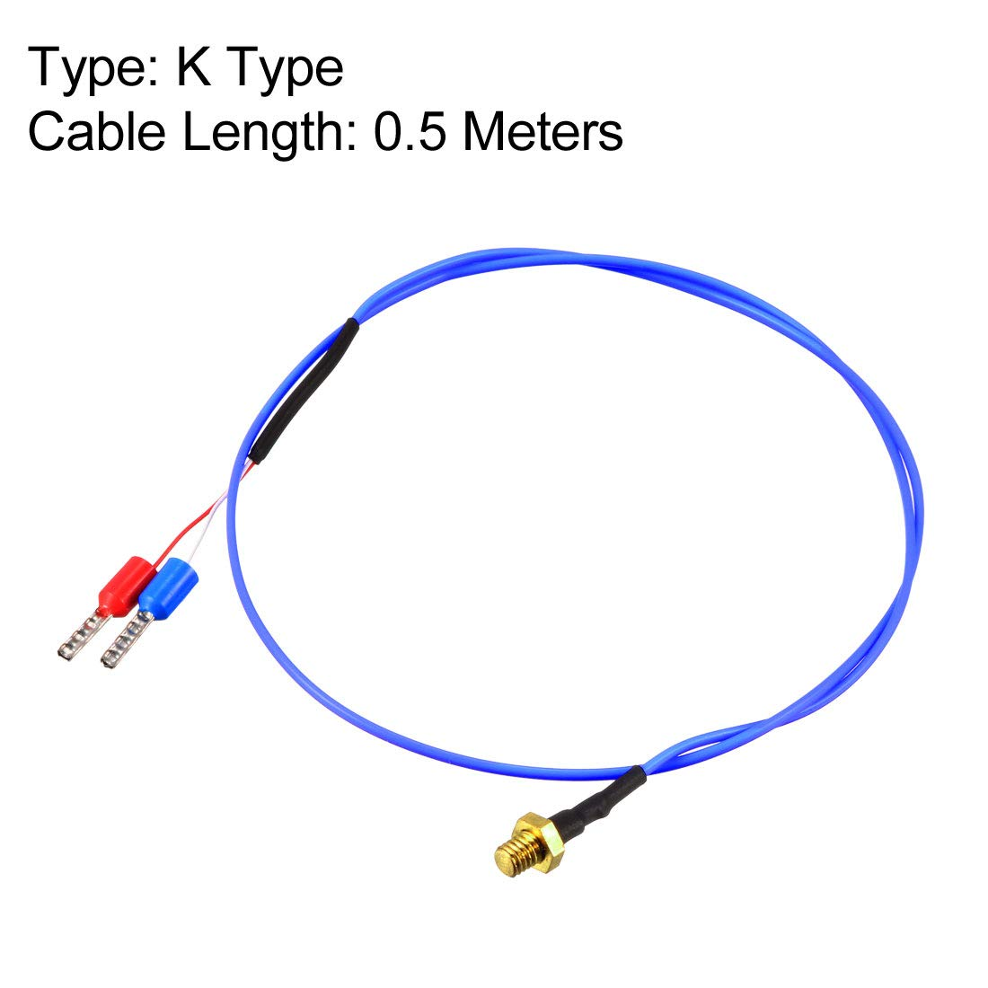 sourcing map K Type Thermocouple 32-1112F//0-600C Temperature Sensor Probe with 0.5M Cable M3 Thread for 3D Printer