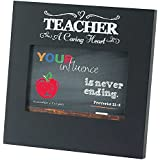 Teacher a Caring Heart Proverbs 22:6 Chalkboard 8 x 8 Wood Photo Frame Plaque