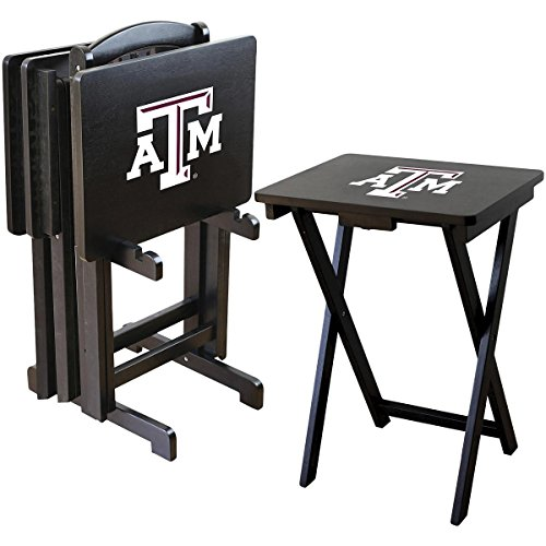 Imperial Officially Licensed NCAA Merchandise: Foldable Wood TV Tray Table Set with Stand, Texas A&M Aggies