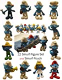 "Smurfs 2.5"" Toy Play Set & Carry Bag - Papa, Gutsy, Smurfette, Brainy, Clumsy, and Friends (12 Smurf Figures)"