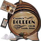 Personalized American Oak Bourbon Aging Barrel (202) - Custom Engraved Barrel From Skeeter's Reserve Outlaw Gear - MADE BY American Oak Barrel - (Natural Oak, Black Hoops, 5 Liter)