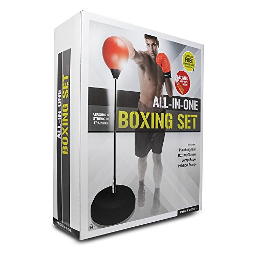 Protocol All-In-One Boxing Set | Punching Ball with Adjustable Height Stand That Withstands Tough Beatings, Jump Rope to Increase Cardio and Agility, Comfortable Boxing Gloves, and Inflation (Punching Ball)