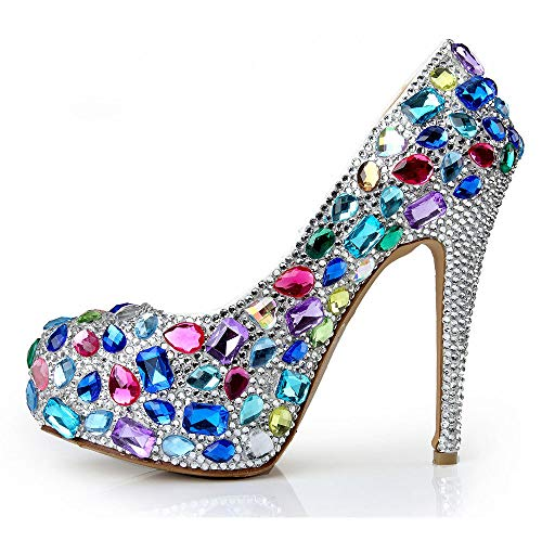 Elegante Schuhe Kleiden HGDR Abend Kristallhochhackige Gerichts Partei Farbige Abschlussball Für Schuhe Plattform Damen Frauen Pumpen Brautschuhe Hochzeits BRxYt0wq
