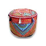 Traditional Home Decorative Red Ottoman Handmade and Patchwork Foot Stool Floor Cushion, Size 14 X 18 X 18 Inches