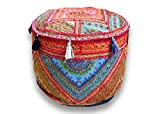 Indian pouf cover ottoman handmade
