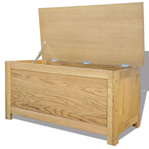 Festnight Oak Storage Chest Box Wood Trunk Cabinet, used for sale  Delivered anywhere in USA