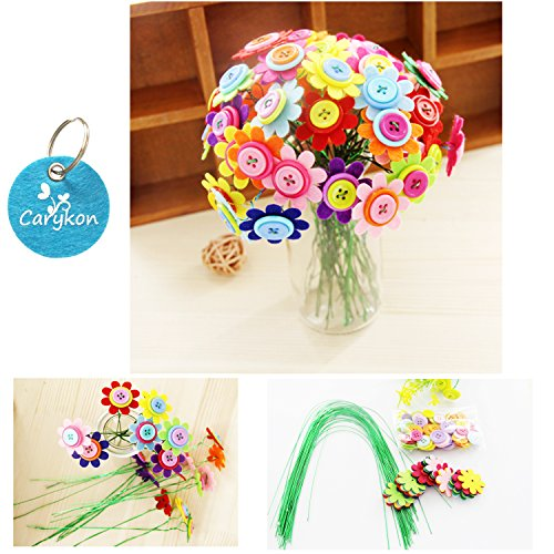 Carykon DIY Craft Iron Wire Button Felt Bouquets Kit Make 40 Flowers 8Petal Flowers