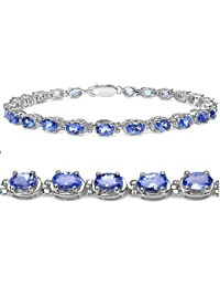 Tanzanite Tennis Bracelet Crafted in Sterling Silver( 7 1/4 inch)