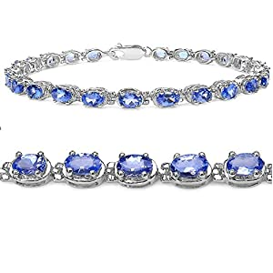 Tanzanite Tennis Bracelet Crafted in Sterling Silver(7 1/4 inch)