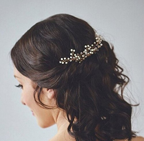 Bridalvenus Wedding Bridal Hair Pins with Bread and Crystal for Bridalsmails and Flower Gilrs (Set of 3)