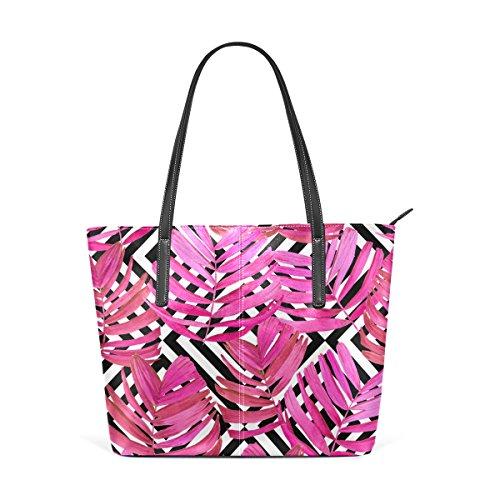 Handbag Women's Leather Watercolor Handle TIZORAX Purses Totes PU Bags Tropical Shoulder Fashion Leave Top aCw0atBxnq