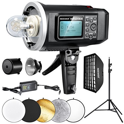 (Neewer 600W GN87 HSS Outdoor Strobe Flash Lighting Kit for Canon Nikon Sony Mi Shoe Camera, Includes: NW600BM Flash with Bowens Mount, 27.5x39 inches Softbox, 8.5 feet Light Stand and Reflectors)