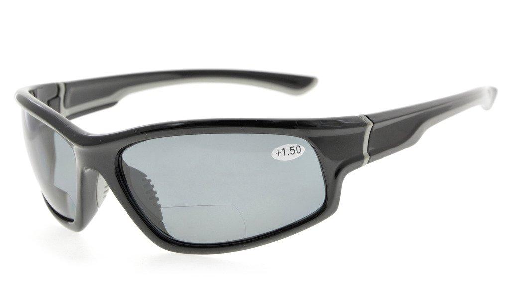 Eyekepper Sports Bifocal Reading Glasses Polycarbonate Polarized Sunglasses TR90 Unbreakable Baseball Running Fishing Driving Golf Softball Hiking Black Frame Grey Lens, 1.50