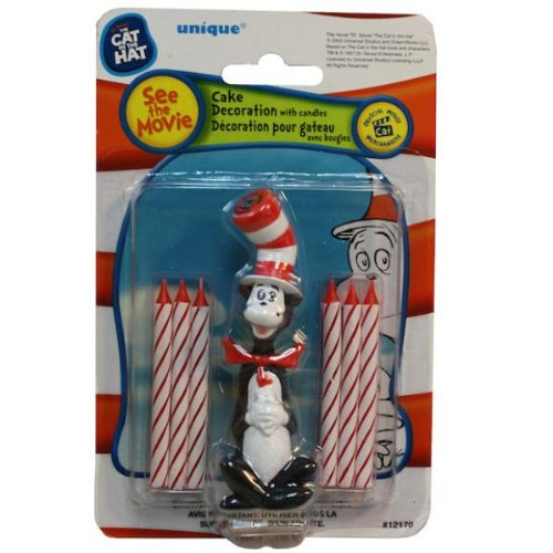Dr Seuss Cat in the Hat Birthday Party Cake Topper and 6 Candles