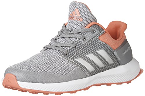 adidas Performance Girls' RapidaRun K Running Shoe, Grey/Silver Metallic/Easy Coral, 4 M US Big Kid by adidas