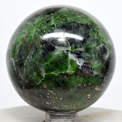 - 52mm Green Chrome Diopside Sphere Sparkling Natural Mineral Ball Polished Crystal Gemstone - Russia + Stand