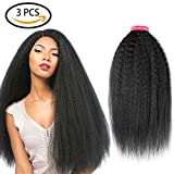 Armmu 22″ 24″ 26″ Yaki Kinky Straight Hair Bundles 9A 100% Unprocessed Brazilian Human Hair Virgin 3 Bundles Hair Extensions Weaves Natural Color(22″ 24″ 26″)