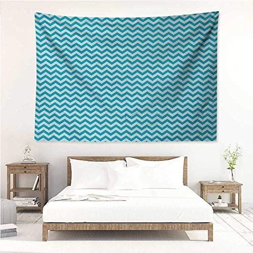alisos Chevron,Wall Decor Tapestry Zigzags in Sea Colors Ocean Waves Nautical Theme Sailboat Design Sea Breeze 91W x 60L Inch Tapestry Wallpaper Home Decor Teal Pale Blue