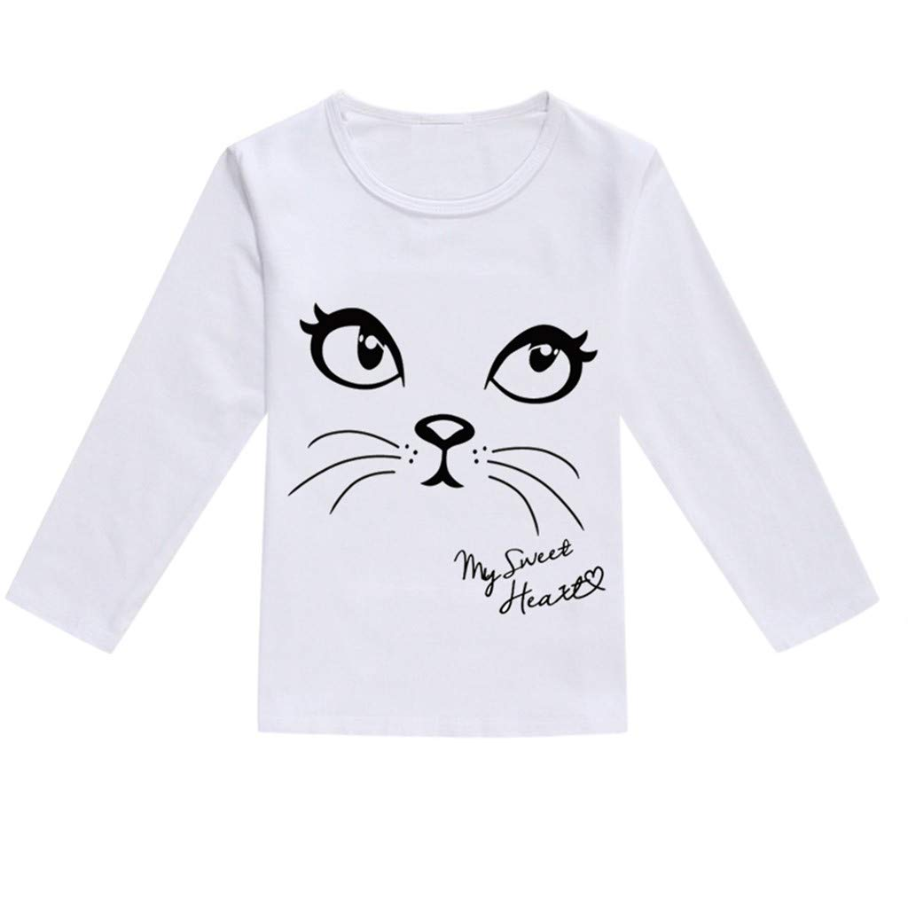NUWFOR Toddler Baby Kids Boys Girls Spring Cartoon Print Tops T-Shirt Casual Clothes(Black,2-3 Years)