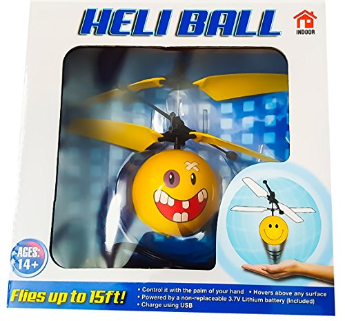 Heli Controller - Heli Ball Flying Helicopter Balls - Ninja, Skeleton or Emoji Face - Hovers 15 ft with Palm (Choose Your Favorite) (Accident Face)