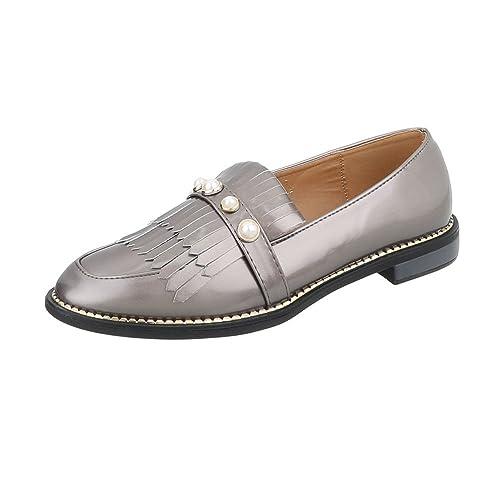 Zapatos para Mujer Mocasines Tacón Ancho Slip-on Plateado Tamaño 40: Amazon.es: Zapatos y complementos