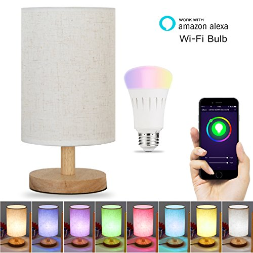LOHAS Smart WiFi Table Lamp, Color Changing LED Desk Lamp, Alexa Voice Control Light Dimmable, Fabric Wood Smart Lighting with E26 Socket for Bedroom Living Room Bar Cafe(1 Smart Bulb Included)