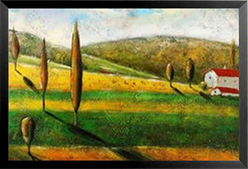 Buyartforless Framed Vineyard Villa II by Antonio 24x36 Art Print Poster Tuscan Landscape Italian Countryside Trees Vineyard Wine Red White Barn