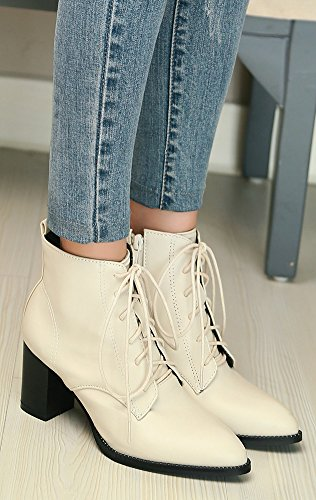Cheville Mode Bout Beige Pointu Aisun Femme Bottines Chunky S8zqWI7x