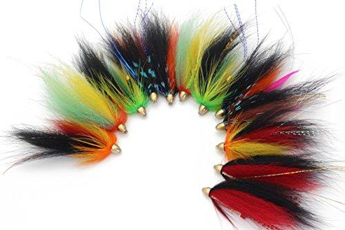 (Tigofly 12 pcs Cone Head Tube Fly for Salmon Trout Steelhead Fly Fishing Flies Lures Set)