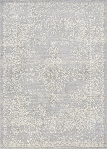 Well Woven FI-17-7 Firenze Cannes Modern Vintage Ethnic Medallion Distressed Grey Area Rug 7'10