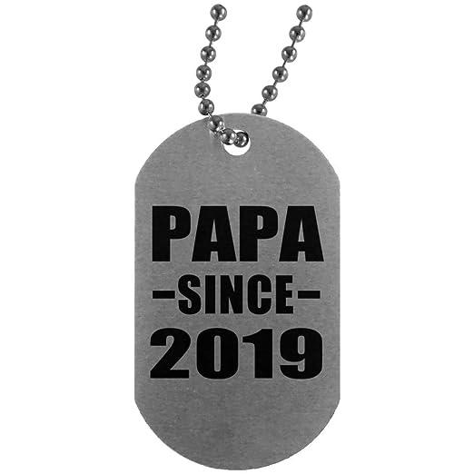 Papa Since 2019 - Silver Dog Tag Collar Colgante Militar ...