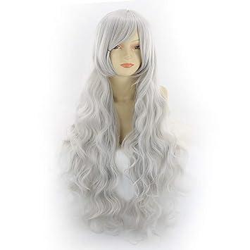 Komfami Cosplay pelucas para mujeres, peluca sintética para el traje de anime (Gris-plata)