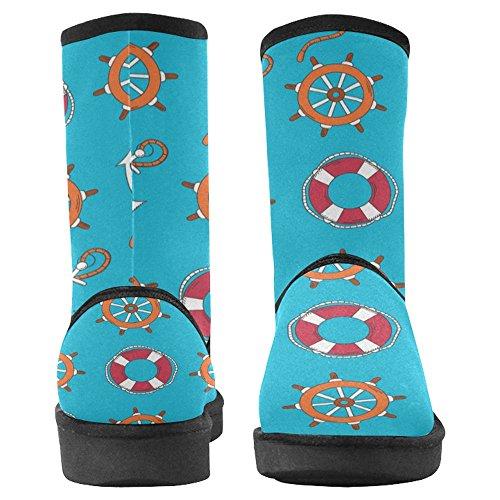 Scarponi Da Neve Womens Interestprint Design Unico Comfort Invernale Stivali Ancore E Timoni Marini Multi 1